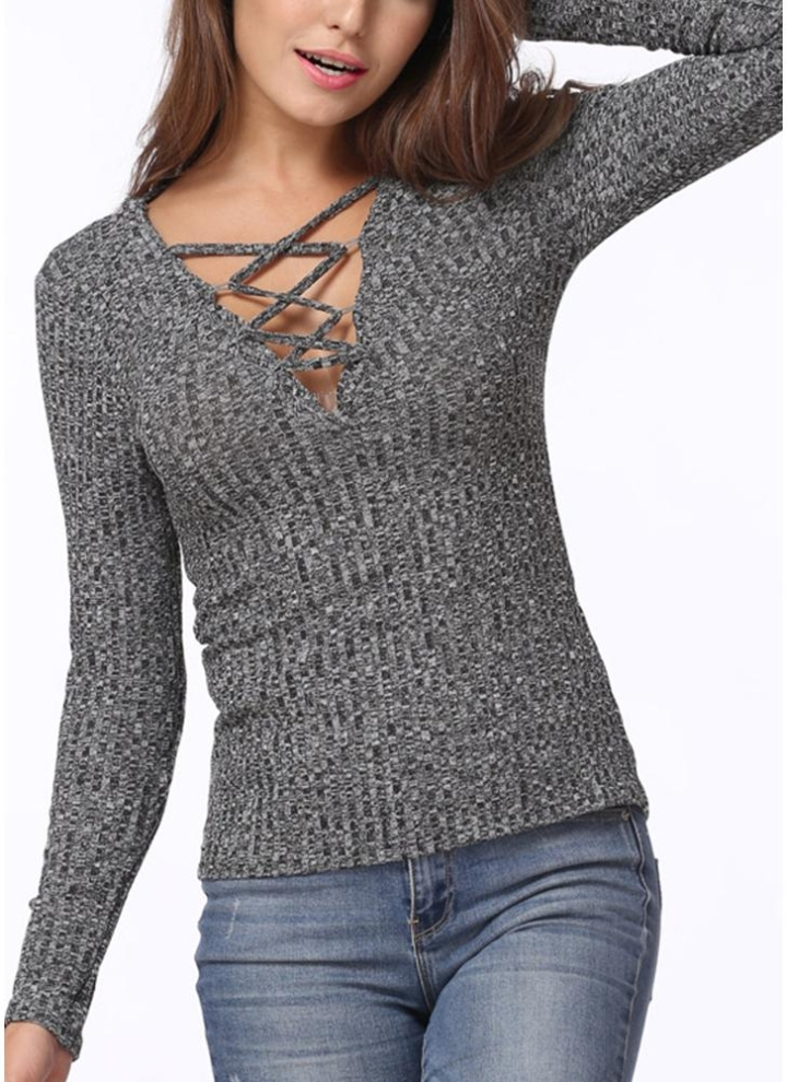 699f497e19 Sexy V Neck Knit Top Slim Cross Lace Up Women s Pullover