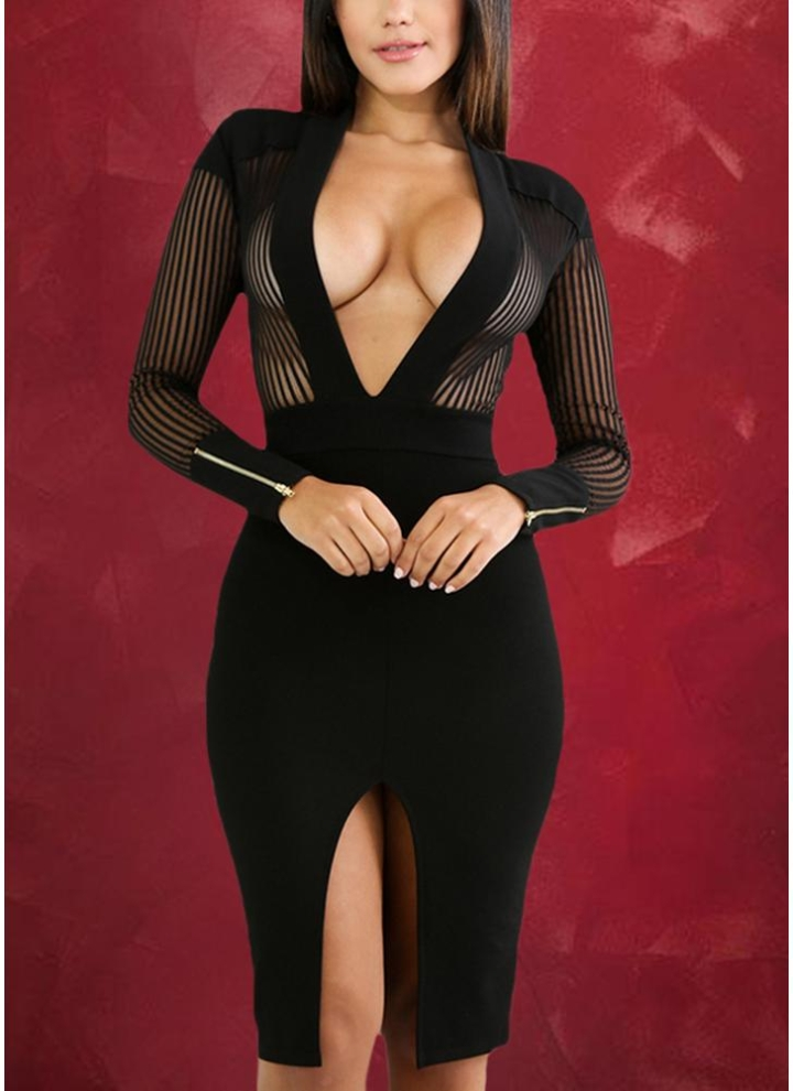 ca2b568b6e2 Sexy Sheer Deep V-neck Long Sleeve Club Pinstripe Women s ...