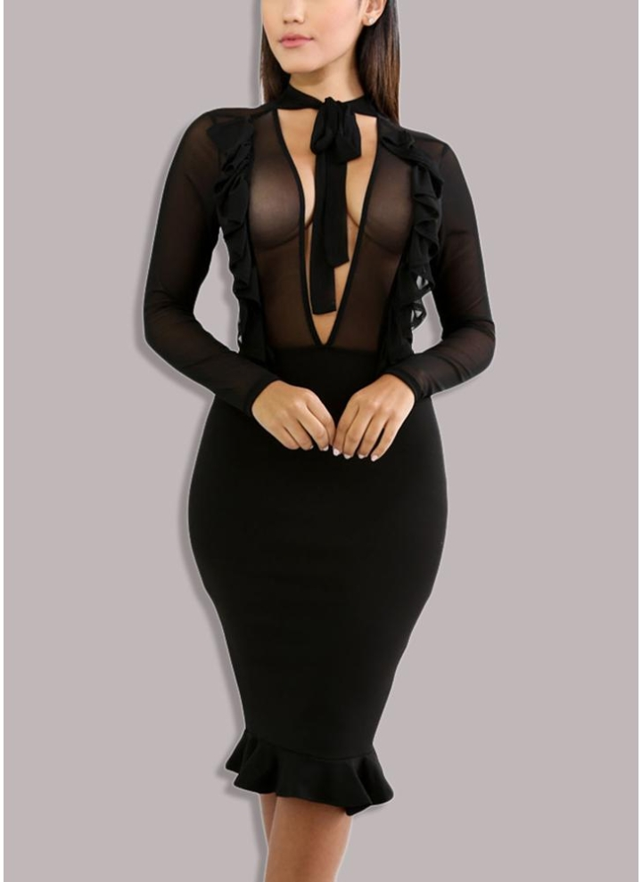 fa304a62114 Sheer Mesh V Tied High Waist Ruffle Midi Nightclub Women s ...