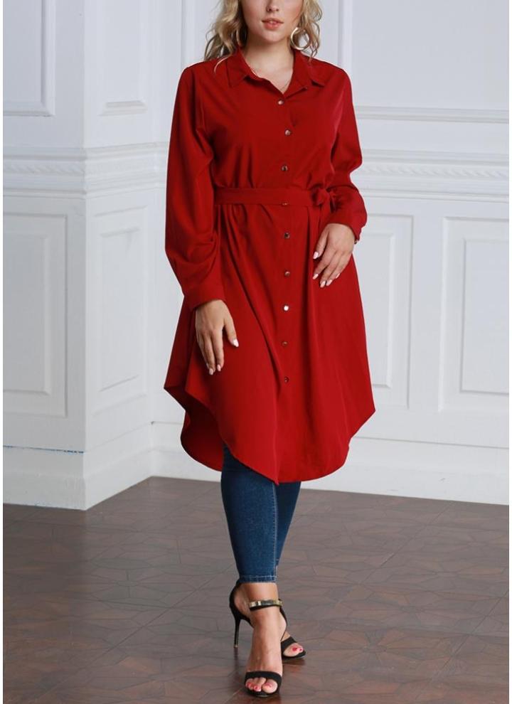 Women Long Sleeve Irregular Hem Belted Solid Tunic Plus Size Shirt 2adbae1e77e1