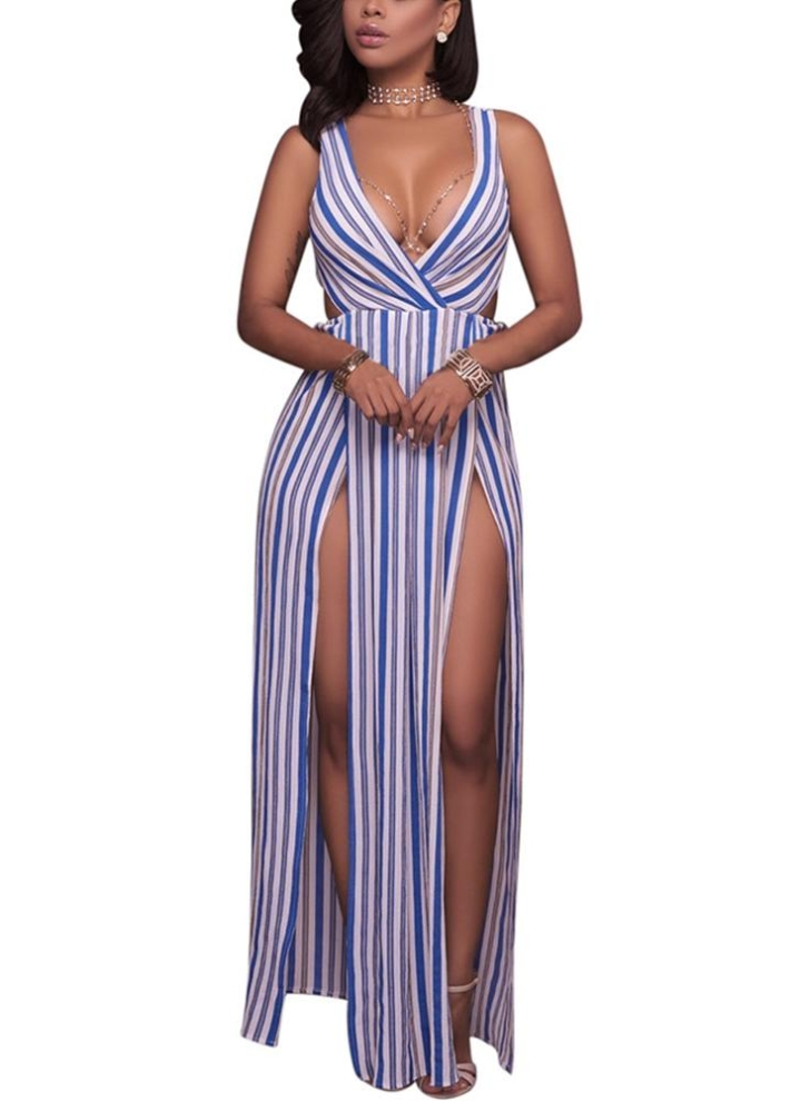 49e0711e57 Long Summer Maxi Dress Striped Deep V-Neck High Splits Backless ...