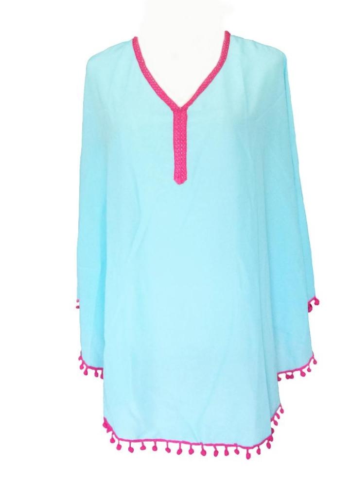 b66864997191 Nuove donne coprono Pom Pom Tassel Trim V collo camicetta estate spiaggia  vestito sciolto grembiule blu