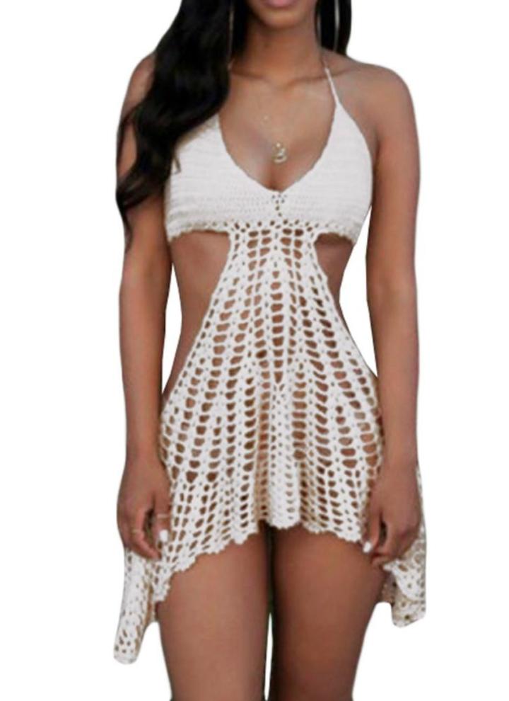 efcc8fc6da91d Sexy Mulheres malha Biquini Crochet Bikini Top Beachwear Cover Up Vestido  melancia vermelho / branco