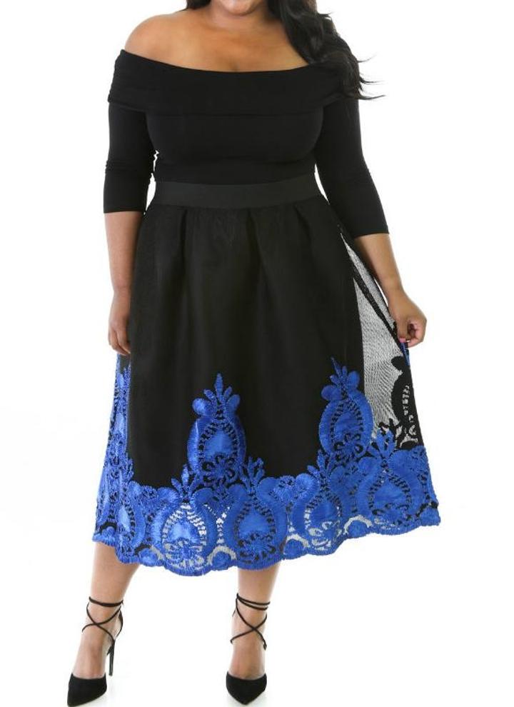 Blu Lacy ricamo pannello esterno di Tulle Curvy Vestito a pieghe d77b175d71b