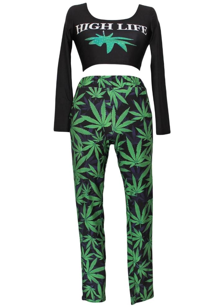 94ebec919712 High Life Weed Print Pant Set