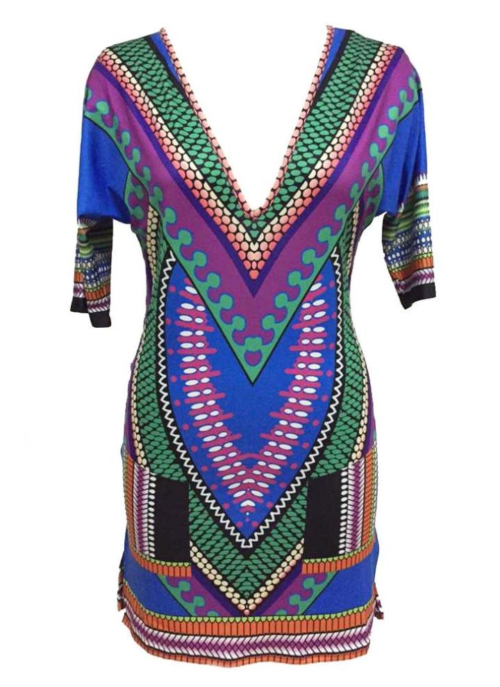 un tamaño Multi V-neck African Vintage Tribal Print Dress - Chicuu