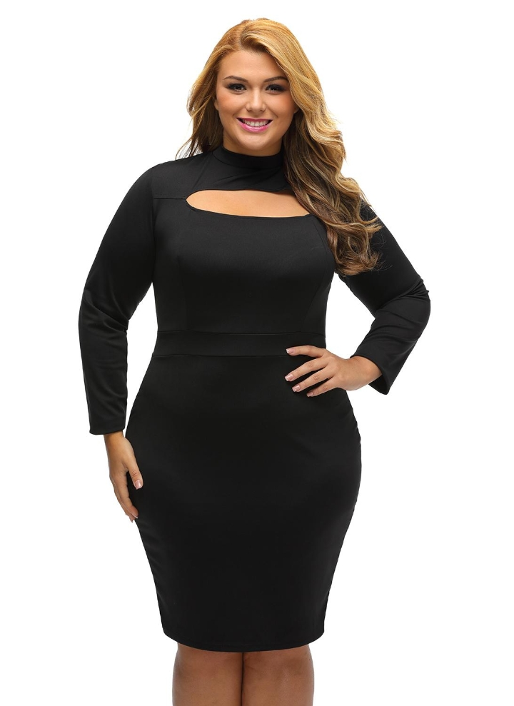 Black 3xl Keyhole Front Bodycon Long Sleeve Plus Size Mini Dress