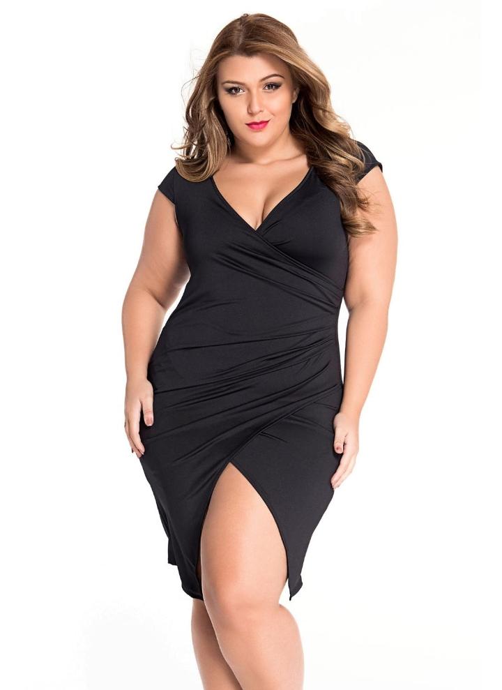 Black Plus Size Ruched Jersey Wrap Midi Dress Chicuu