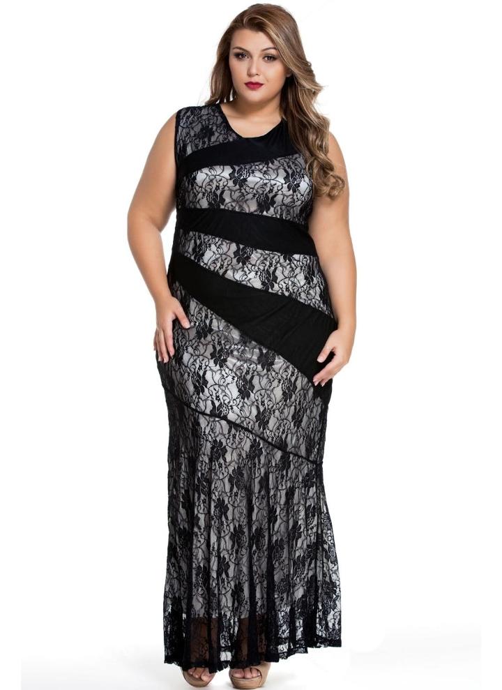 Size Prom Splice Spitze Plus Mermaid Schwarzer Stilvolle Kleid wnOP0k
