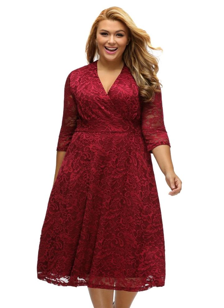 Plus Size Surplice Lace Long Sleeve Skater Dress