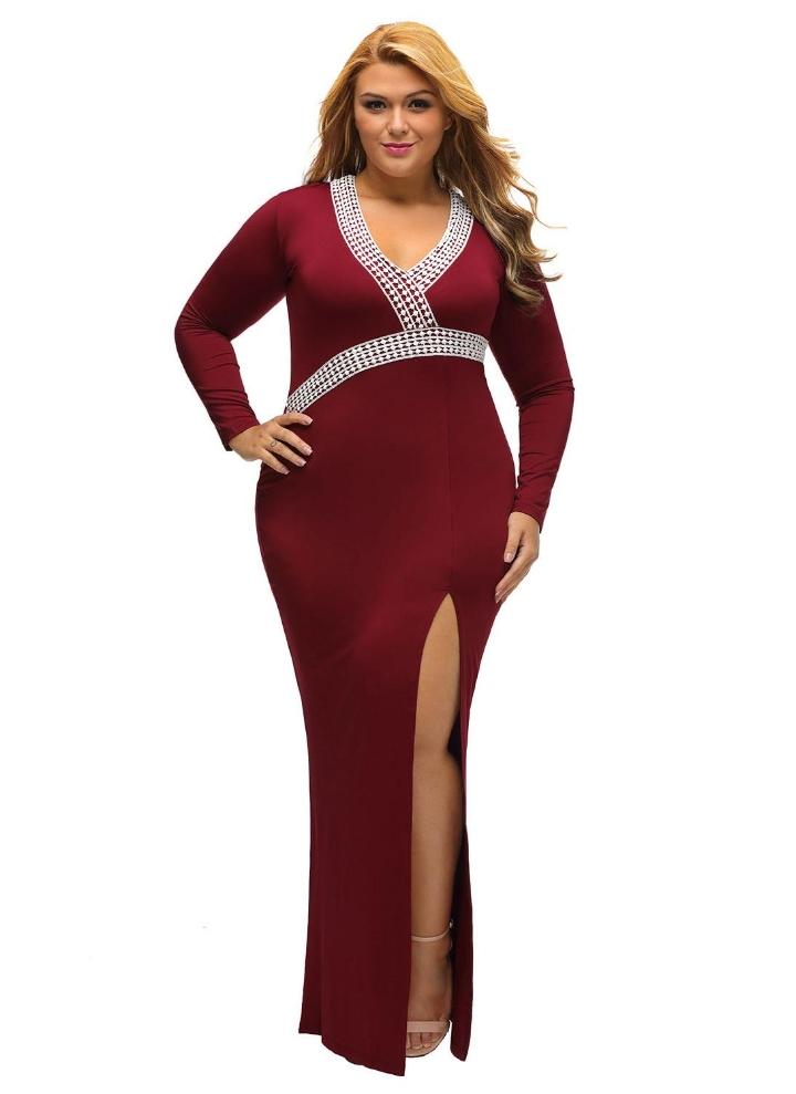 High Slit Hem V Neck Long Sleeve Plus Size Maxi Dress