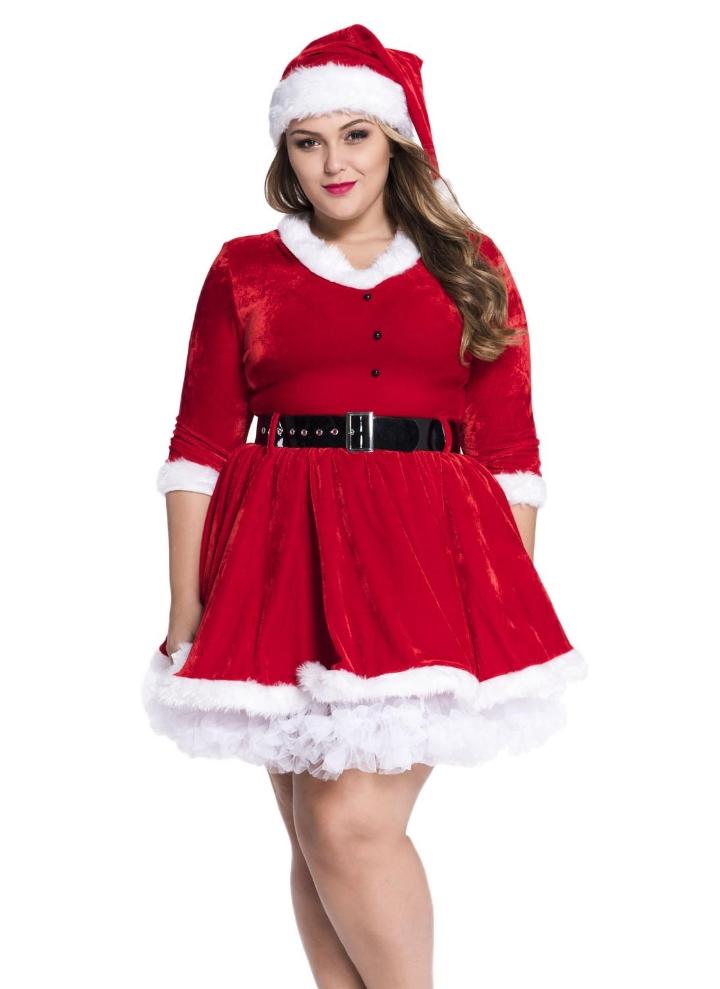 Plus Size Christmas Costumes.Maribou Trim Sweetheart Neck Plus Size Christmas Santa Dress