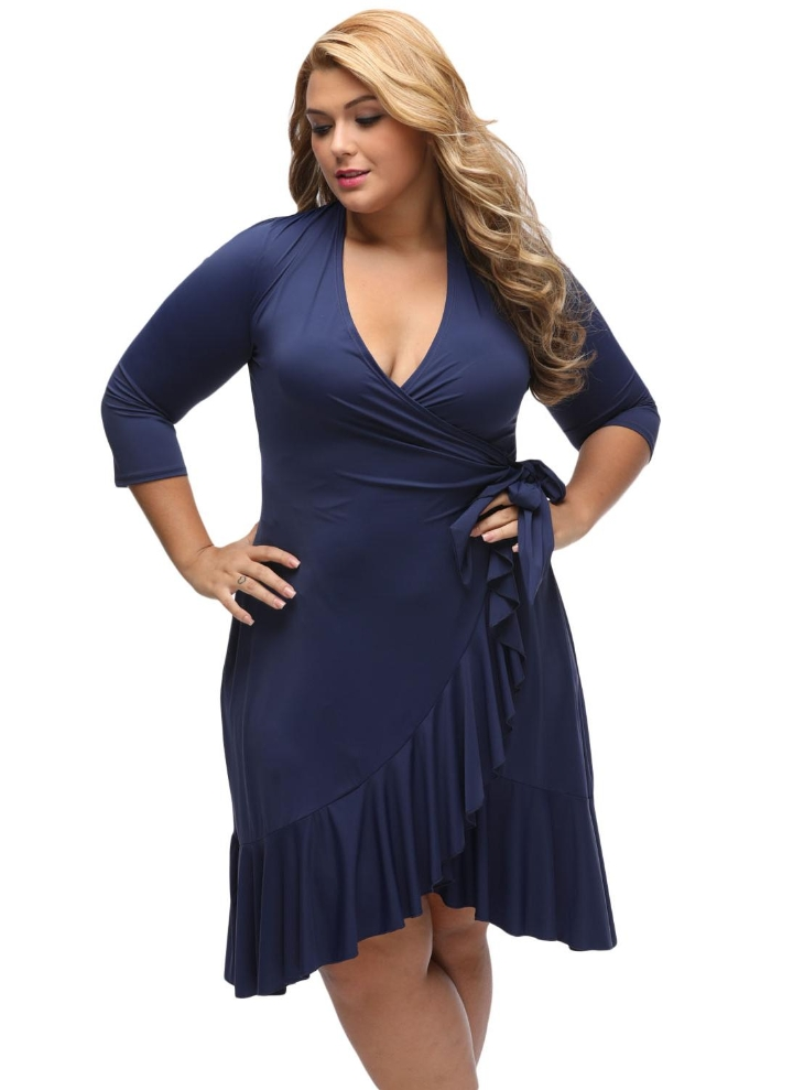 Dark Blue Xl Whimsy Wrap Flounce Irregular Hem Plus Size Dress Chicuu