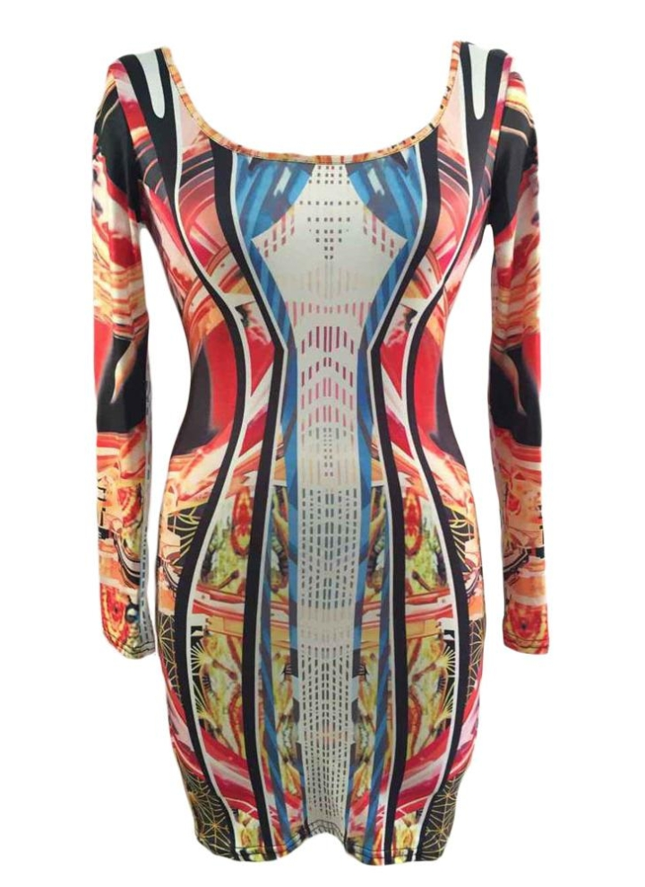 04d210a4d0cd39 Paradise Luxe Multicolor Mirrored Illusion Print Dress