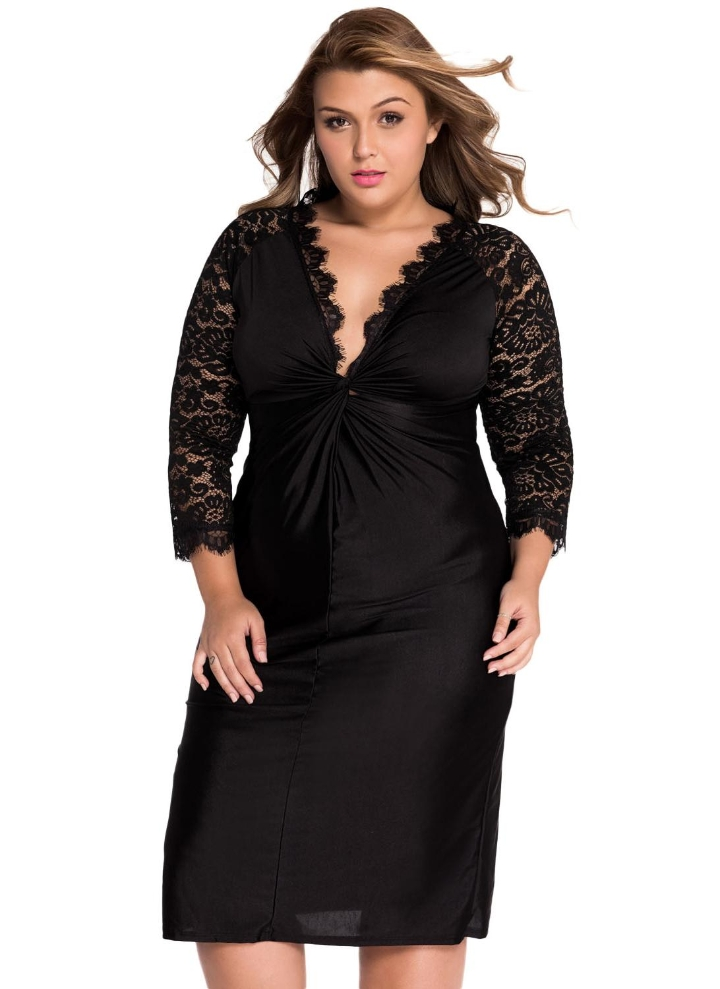 Black Xxl Plus Size Cocktail Dress With Lace Sleeves Chicuu