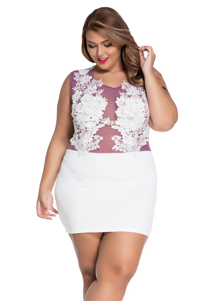 White L Sizzling Floral Lace Bodice Plus Size Club Dress Chicuu