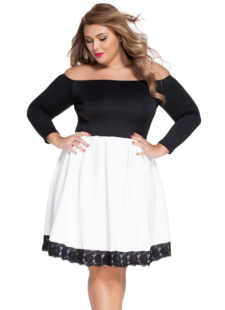 Spliced Bateau Neck Lace Off Shoulder Skater Dress 9e37c24b0