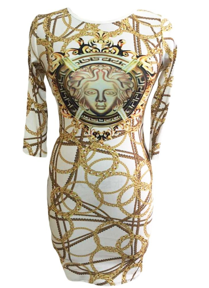 0a48d82f8dcb bianca l Trendy Gold Chain Print Dress - Chicuu