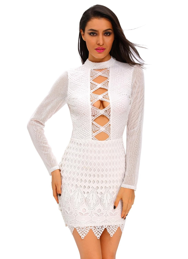 new style b7345 088a7 Vestito di pizzo bianco a maniche lunghe Indietro Keyhole