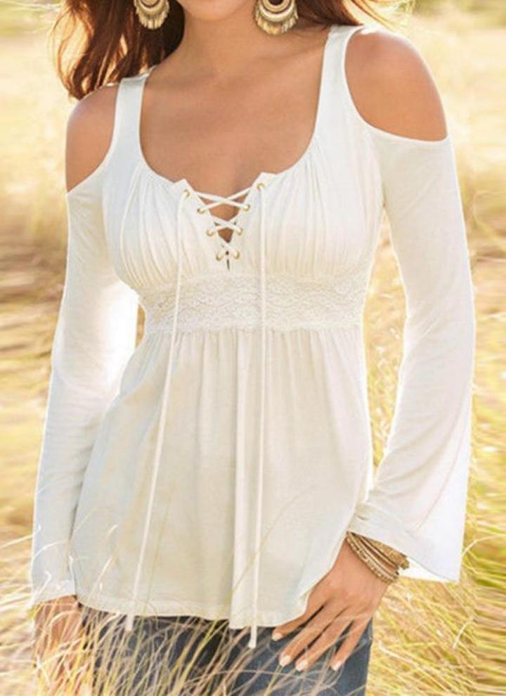 Nuovo Lace Donne Xl Delle Shoulder Cold Modo Camicetta Bianca Di Del qpwXP17