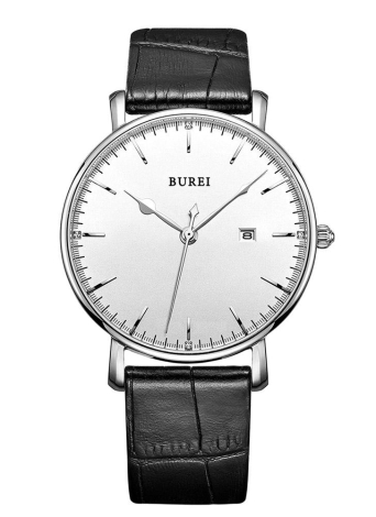 Burei 2016 Luxury Brand vera pelle al quarzo uomo orologi casual 30M resistente all'acqua Business Man Dress orologio da polso con calendario
