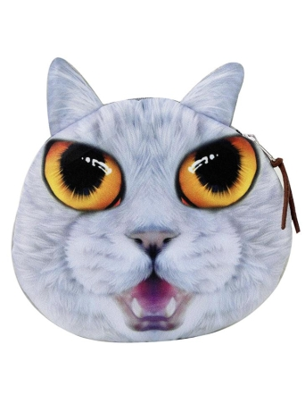 Cute Cat Head Print Zipper Closure Mini Coin Purse Wallet