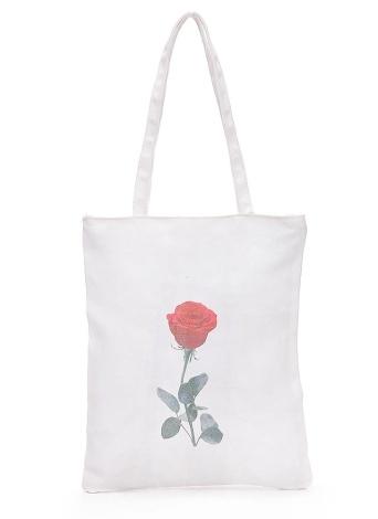 Canvas Shoulder Bag Totes Cute Floral Cat Lips Print Large Capacity Casual Handbag Shopping Bag