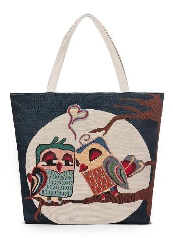 Le nuove donne Canvas Handbag animali ricamo floreale Jacquard Shoulder Bag di grande capienza casuale Shopping Tote Bag