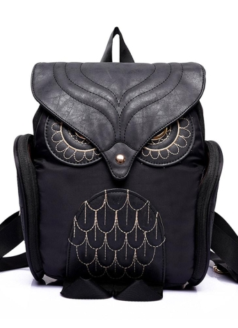 Retro Owl Shape Flap Over Zipper Pocket Solid Color Backpack