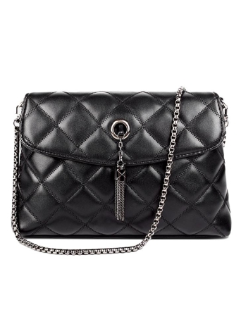 Mulheres de novas bolsa de ombro Pu couro acolchoado xadrez corrente Thread Messenger Crossbody Bag Bolsa preto de borla