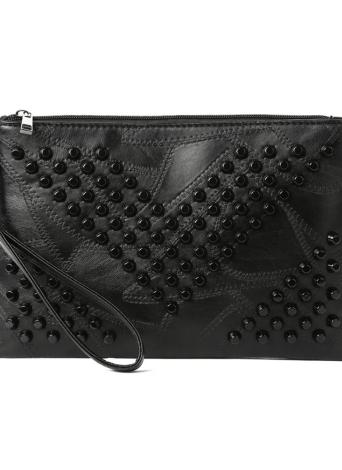 Femmes Rivet Pochette en cuir PU Zipper sangle amovible Purse Casual épaule Sac bandoulière noir