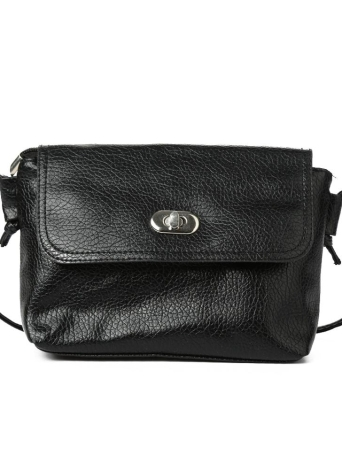 Solid Color Flap Zipper Twist Lock Shoulder Bag