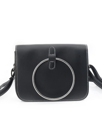 Vintage Metal Ring PU Leather Women's Small Messenger Crossbody Bag