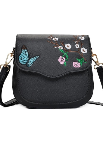 Girl Women Crossbody Bag Bolsas de ombro Embroidery Color Block Elegant Small PU Leather Message Bag
