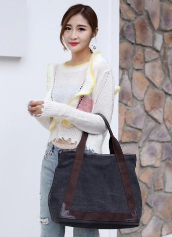 Mode Femmes Toile Casual Vintage Tote PU Sacs à main en cuir
