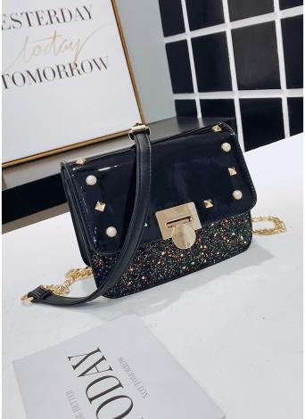 Fashion Women PU Leather Crossbody Bag Flap Front Rivet Beading Messenger Bag Casual Shoulder Bag
