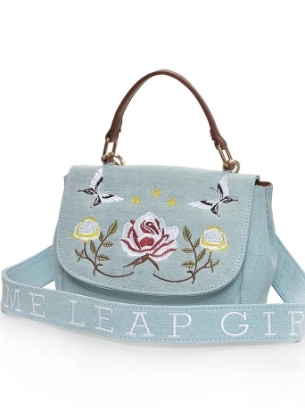 Fashion Women Crossbody Bag Floral Butterfly Embroidery Flap Front Messenger Bag Casual Shoulder Bag