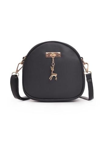 Mujeres de la manera del bolso de hombro de los ciervos del círculo de cuero de la PU mini crossbody bolsa messenger bolso negro / gris / rosa