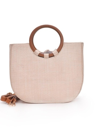 Straw Handbag Knitting Woven Wooden Handle Casual Tote Beach Bohemian Crossbody Bag