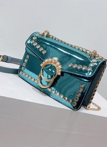 Elegant Women PU Crossbody Bag Pearls Adjustable Shoulder Strap Chain Shoulder Bags