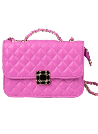 Classic Quilted Chain PU Leather Flap Front Mini Shoulder Crossbody Bag
