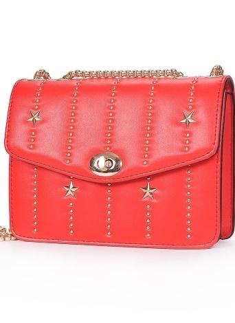 Mini sac à bandoulière en cuir PU Rivet Hasp chaîne épaule Messenger Bag sac à main rouge / noir / blanc
