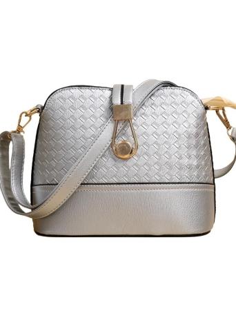 PU Weave Hasp Zipper Casual Vintage Shoulder Shell Bags