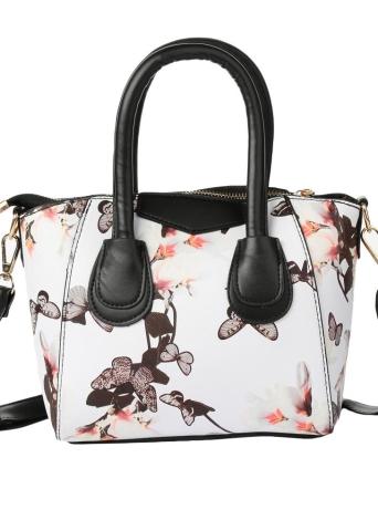 PU Flower Print Zipper Closure Shoulder Bag Handbag