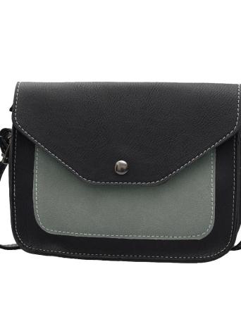 PU Leather Contrast Color Flap Shoulder Messenger Women's Crossbody Bag