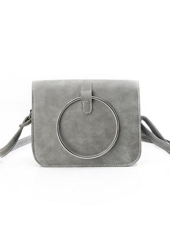 Vintage Metal Ring PU Leather Women's Small Messenger Crossbody Bag