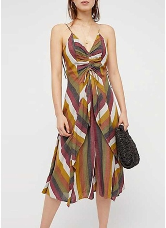 Assorted Colors Sexy Backless Pleated Striped Dress 5c8c366ca
