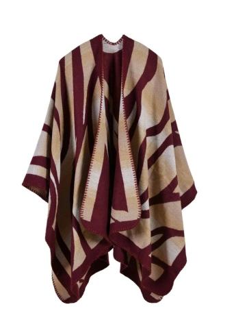 1 Mode Pullover Gestreifte Faux Kaschmir Capes Damen Poncho
