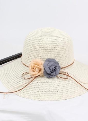 Женская соломенная шляпа Контраст Цветочный цветной блок Складной сладкий солнце Летняя уличная пляжная кепка