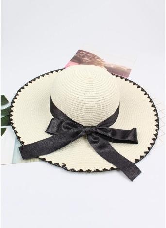 Sombrero de Paja de Sun Mujeres Contraste Bowknot Ancho Gran Borde Plegable Floppy Casual Summer Beach Cap